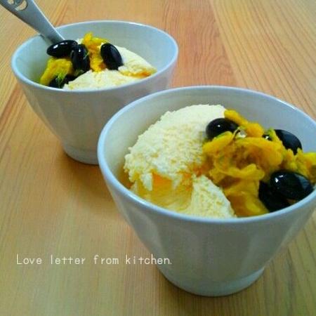 食菊と黒豆を使って和風パフェ