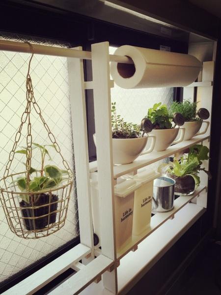 キッチン小窓にぴったりなすのこ棚