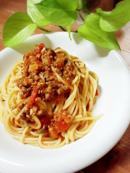 トマト100%で作る我が家の絶品ミートソース♪といっても超簡単につくれます♪