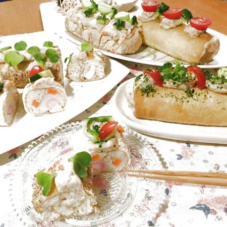 切り口がキュートなおもてなしレシピ♪いなり寿司deロールケーキ