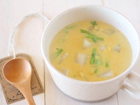 レシピ【老化防止に期待&余ったお餅の消費に!!かぶとお餅のコーンスープ】