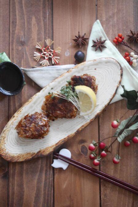 かつお節衣の豚こま肉で肉厚ヘルシー揚げ焼きひと口カツレシピ