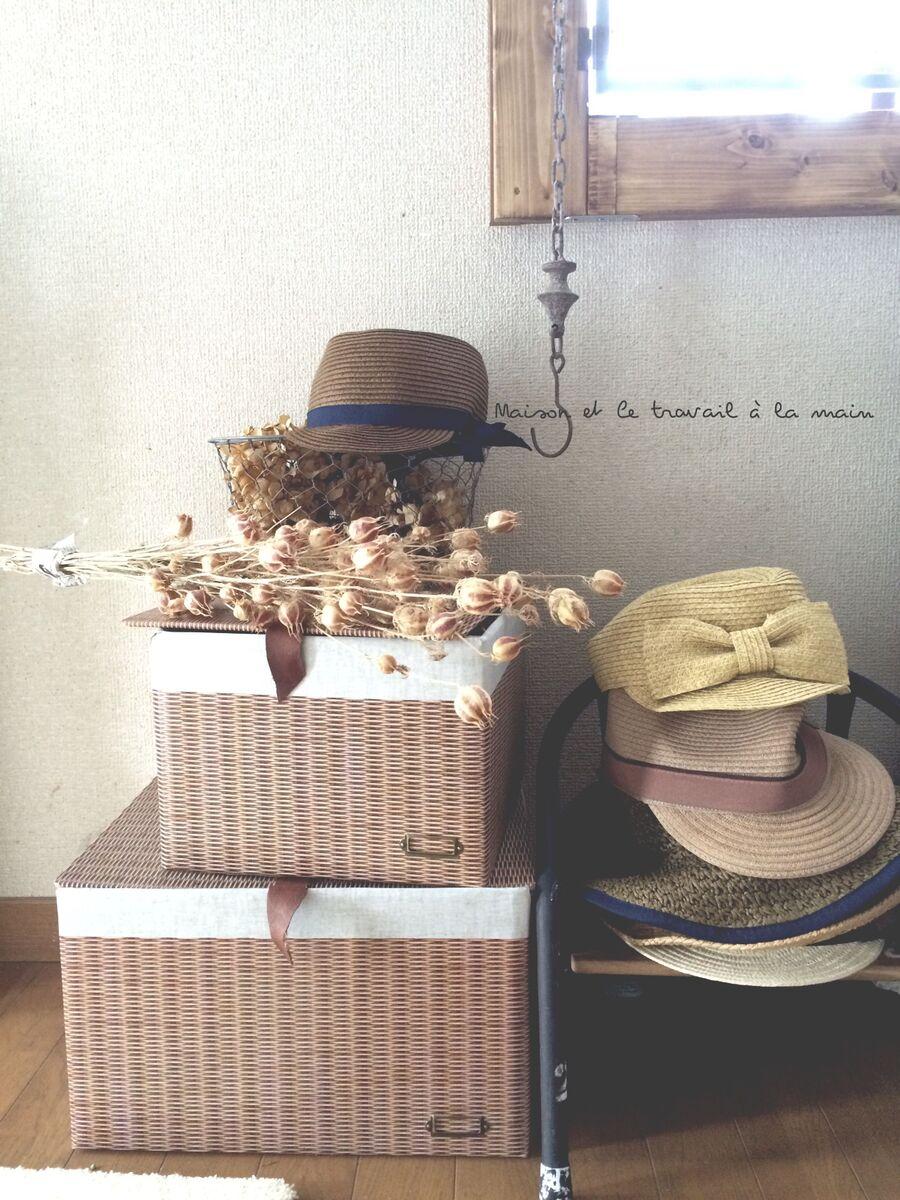 ダンボールをdaiso壁紙シートで籐カゴ風に 暮らしニスタ