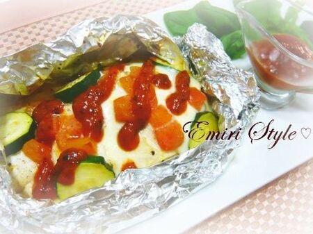 火を使わない簡単主菜!鶏むね肉のイタリアンホイル焼き☆