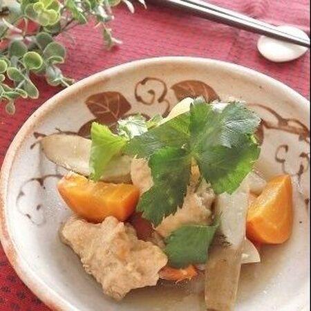 圧力鍋で♪簡単しっとり仕上げ 鶏むねと根菜の生姜味噌煮