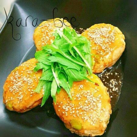 【節約90円】お豆腐鶏むね痩せバーグ♡めんつゆ生姜あんかけ
