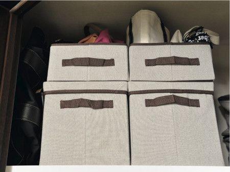 ニトリのフタ付き収納ボックスなら重ね置きもスムーズ