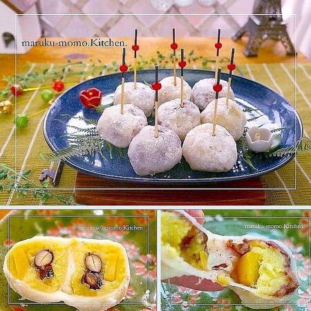 お節のリメイク*『お餅』『黒豆』『栗きんとん』で作るレンジでもちもち和菓子♪