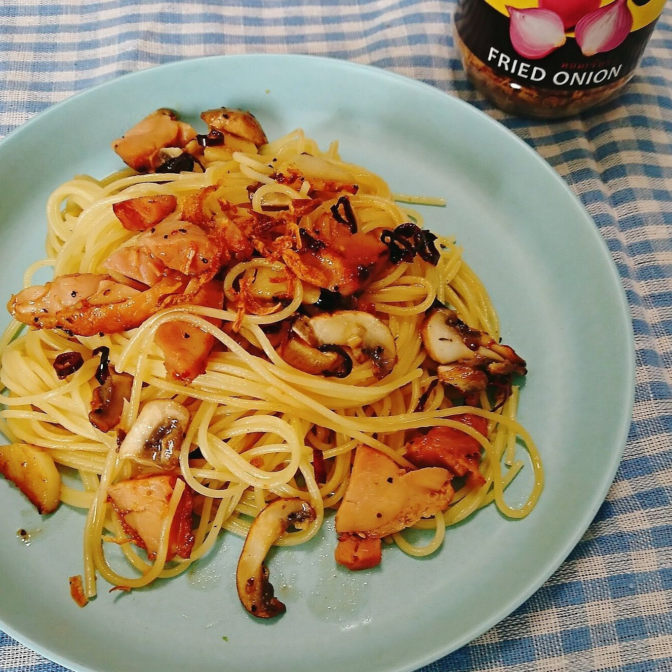 【レシピ】ベーコンとマッシュルームのお醤油ペペロンチーノ