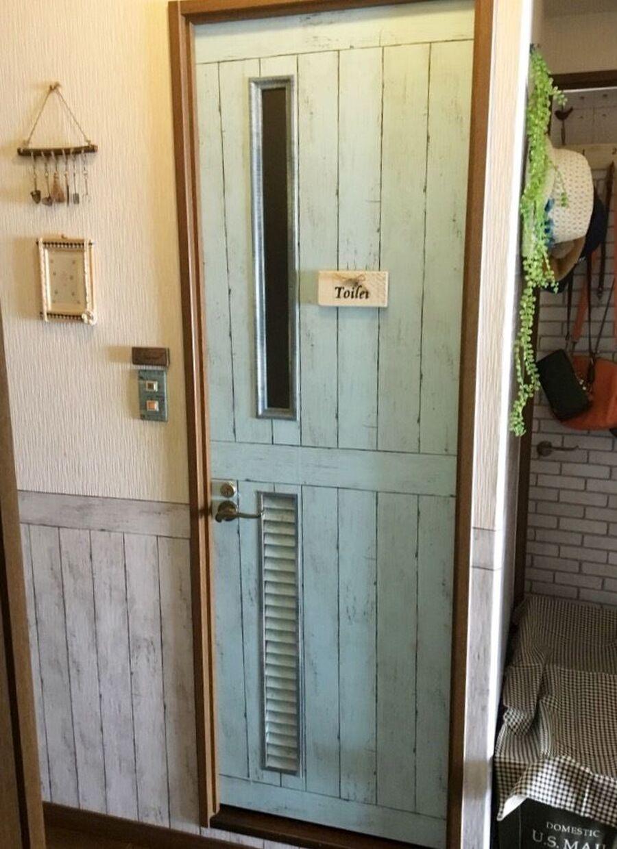 ダイソーリメイクシートを貼るだけ 簡単 トイレドアをリバーシブル仕様に 暮らしニスタ