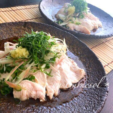 香味野菜のみょうがで夏バテ防止☆薬味たっぷりの鶏しゃぶ