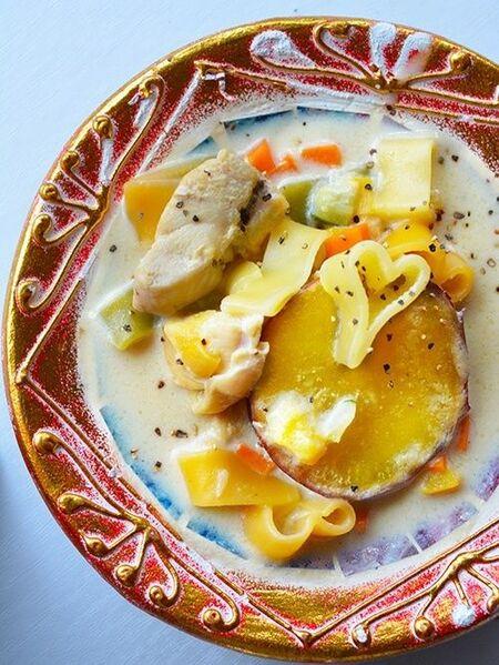 お腹満足♥鶏と野菜入り豆乳のスープパスタ【*ヘルシー*鶏むね肉】10~20分