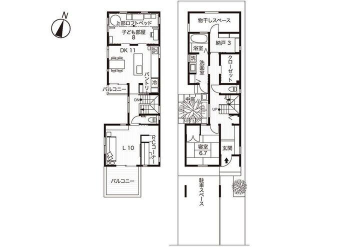 2階建てのKさん宅の間取り図