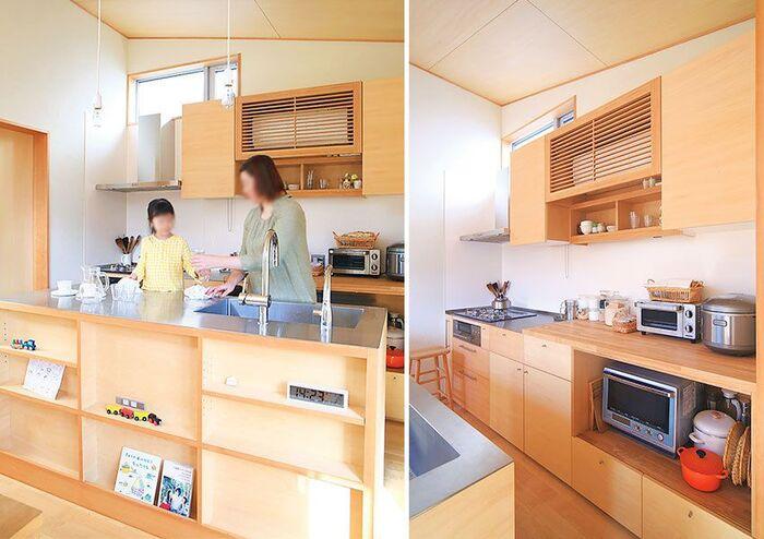 大きなキッチンカウンター付きのキッチン
