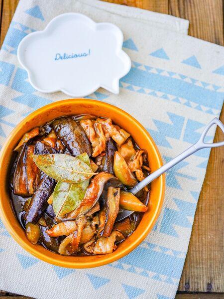強火10分でとろとろ!調味料1つで簡単「豚となすのソース煮こみ」