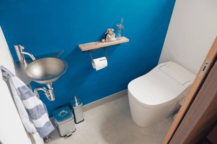 ステンレスの一体成形ですっきりとしたトイレ