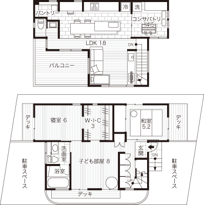 家事動線を考えて、キッチン横にランドリールームを配置した間取り