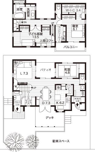 「楽しく家事がしたい! 」を優先して、2階の南側にランドリールームを設計した間取り