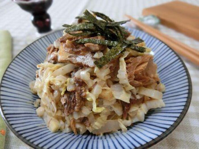 白菜とさば味噌マヨ和え