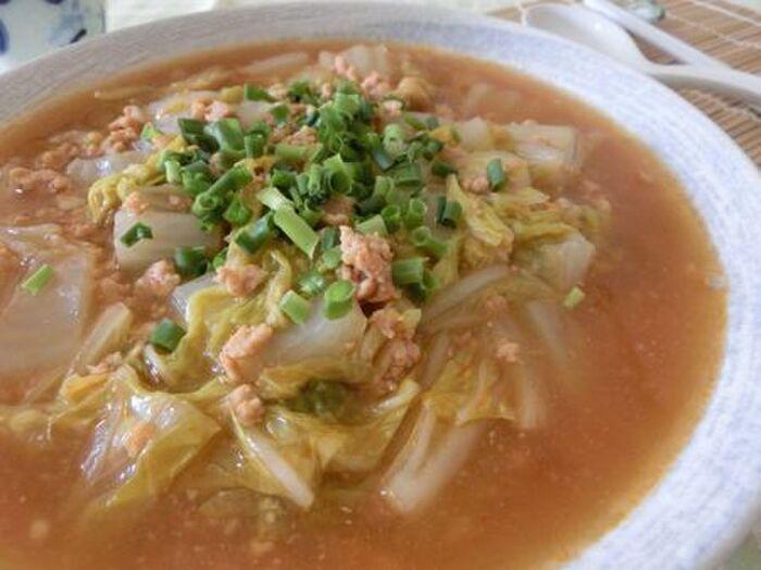 鶏ひき肉のマーボー白菜