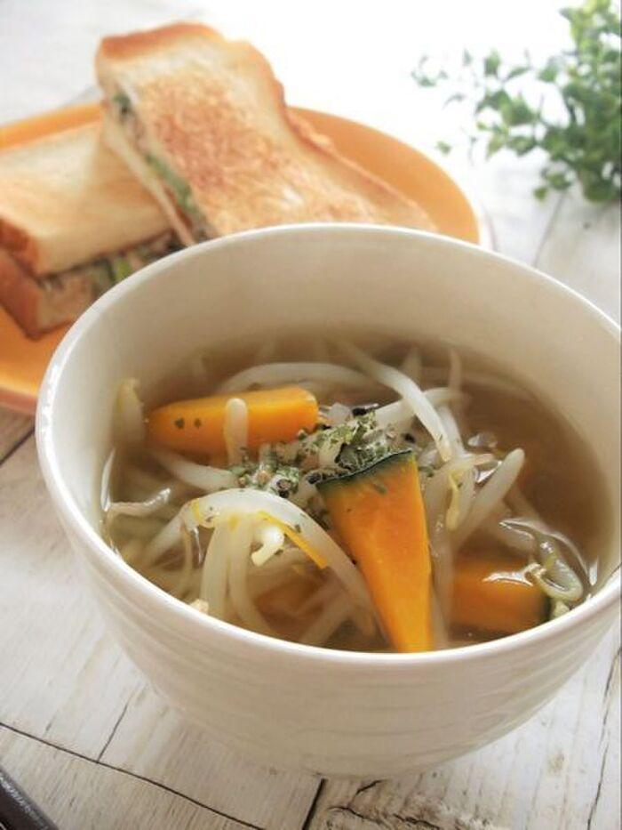 もやしと南瓜のさば出汁スープ