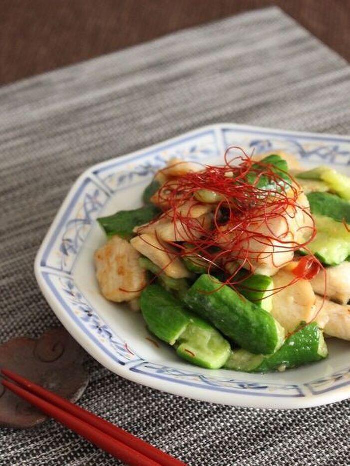 きゅうりと鶏肉のスタミナ炒め