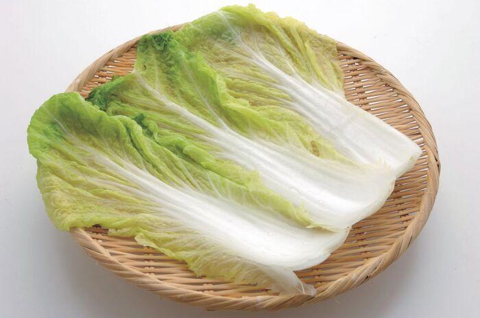 ザルにあげられた白菜