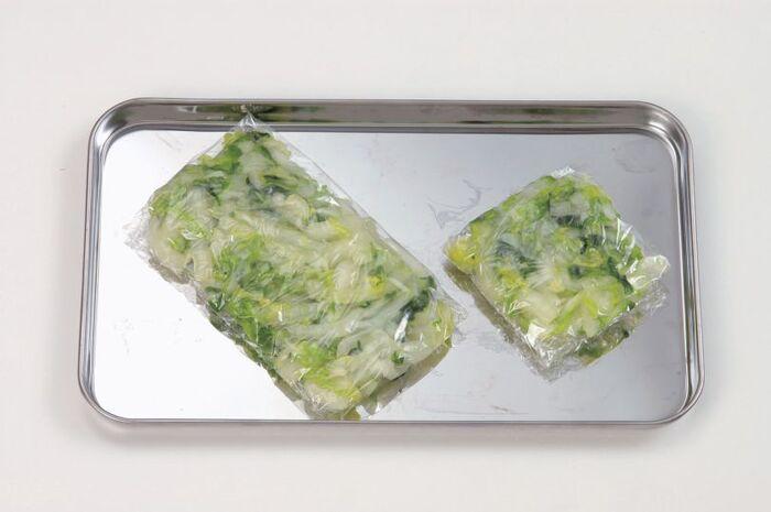 ラップに包まれた白菜
