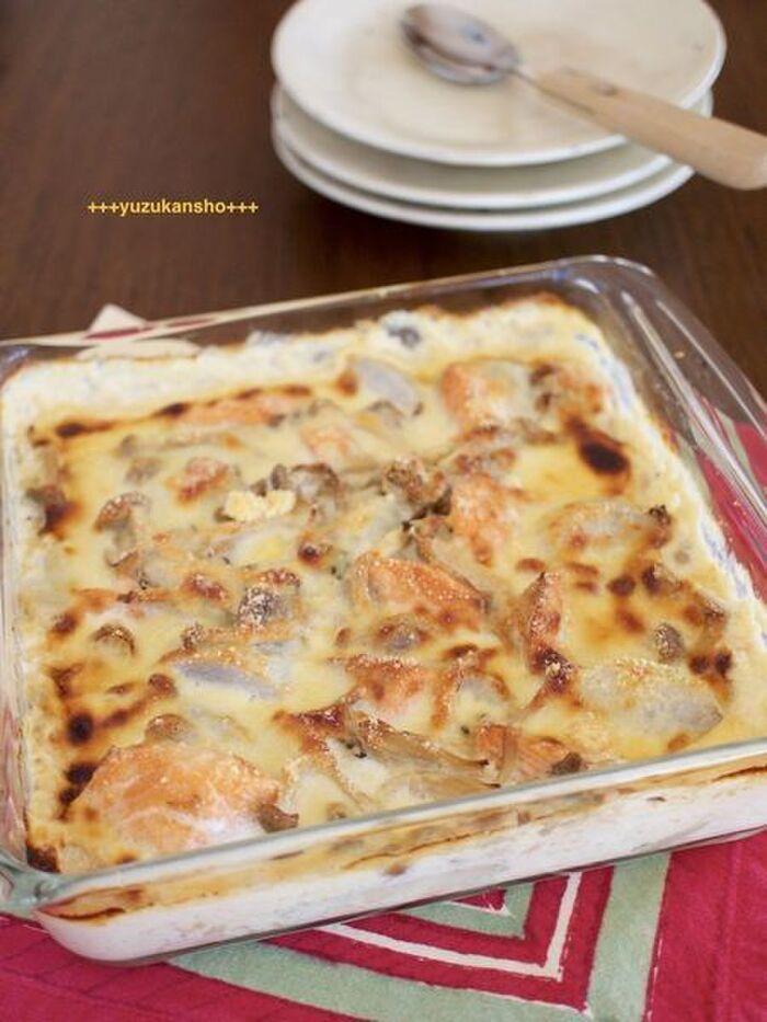 酒と里芋の味噌グラタン