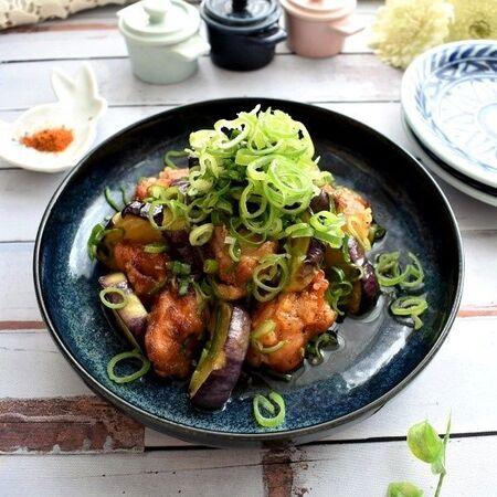 ネギたっぷりがおいしい~鶏肉とナスの甘酢漬け