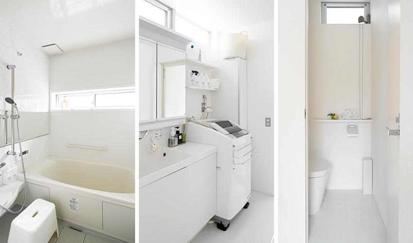 浴室・洗面室・トイレはLIXILやIKEAなどの既成品を採用しました。水回りは白でコーディネートすることで清潔感が感じられます。