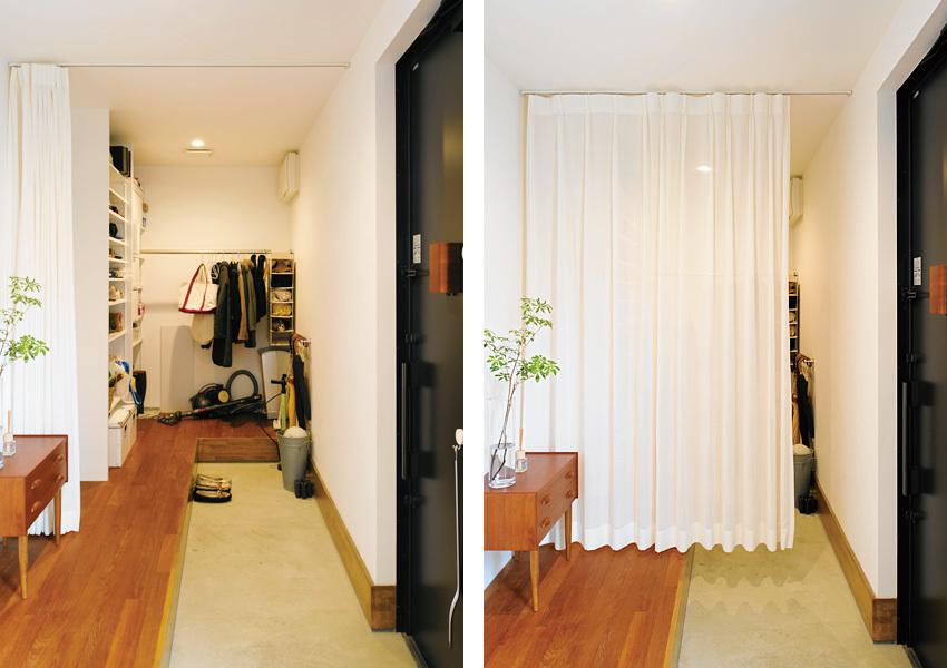 玄関ホールは横に広くつくり、収納バツグン!大人数にも対応できます
