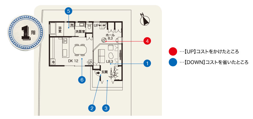 阿知波さん宅の1階間取り図