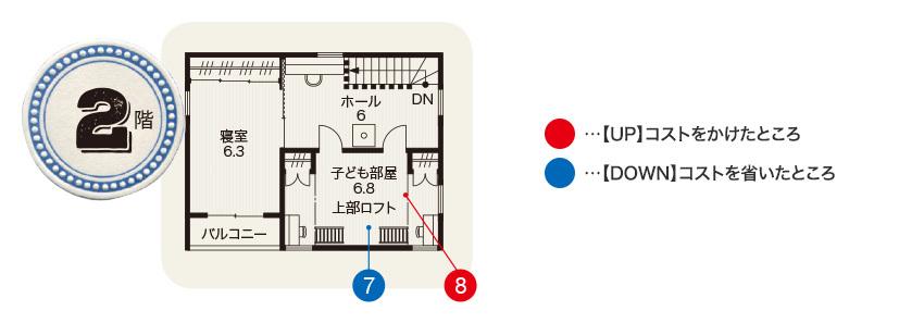 阿知波さん宅の2階間取り図