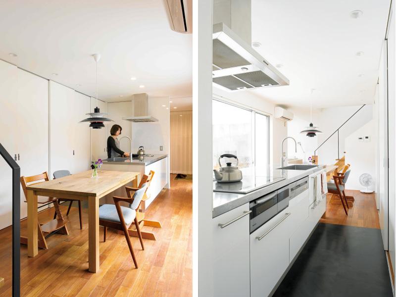 幅や奥行きをきっちりとったキッチンカウンター付きのDK