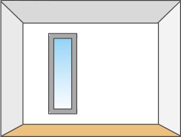 天井が高く見える縦長窓