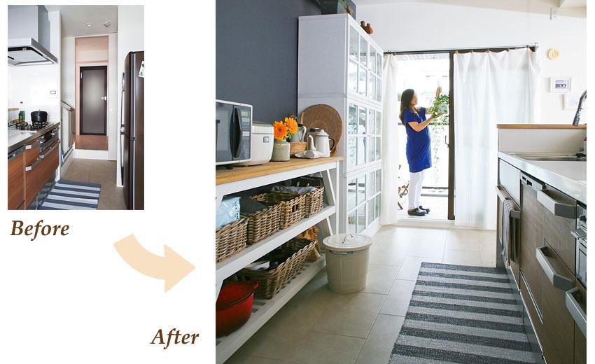 洗濯機や洗面所、浴室までの動線を意識したキッチン