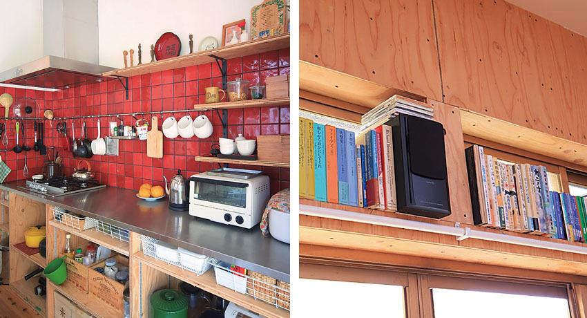 扉や引き出しがないオープンキッチン