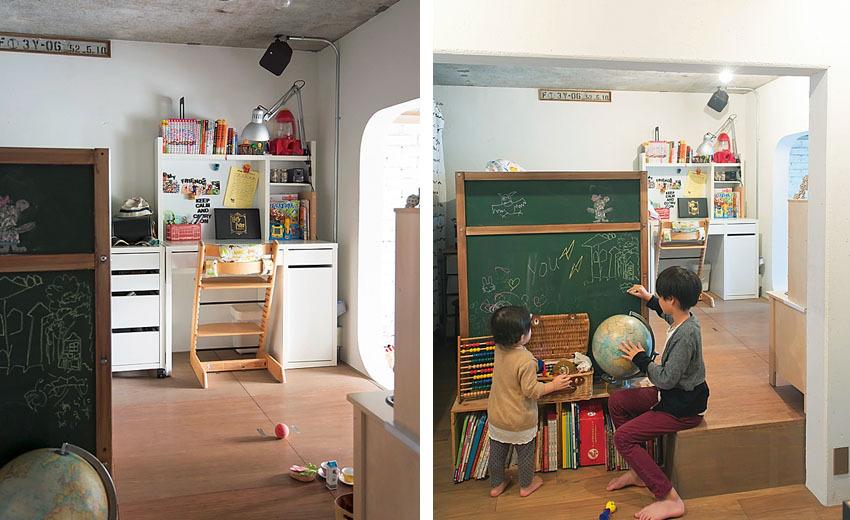 適度にこもり感のあるデスクコーナーと黒板のある子供部屋