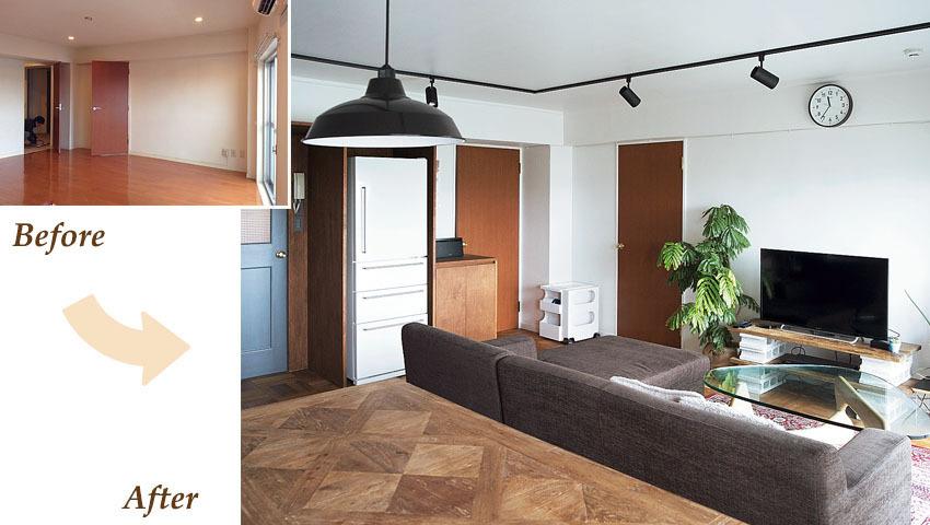 床、壁、天井をかえ、ライティングレールと棚を設置。