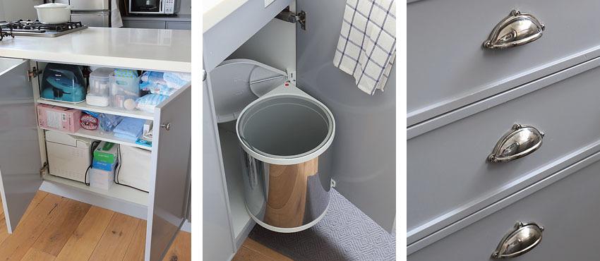 クラシカルなデザインのキッチン収納