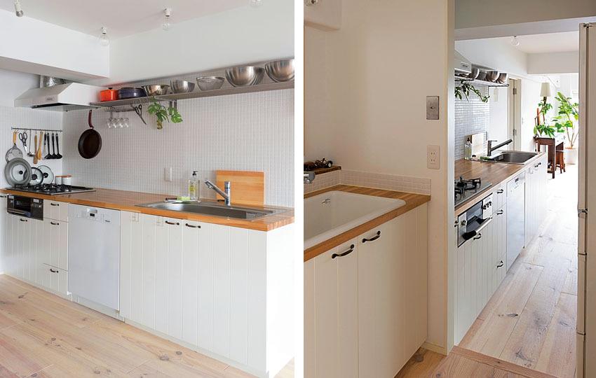 壁づけのI型キッチン