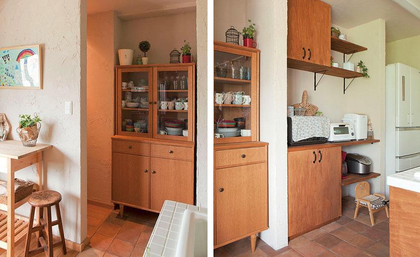 キッチン収カップボードに合わせて壁面を設計