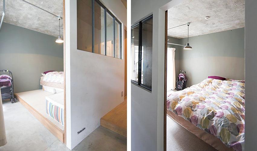 寝室には玄関からつながる土間スペースを設けた寝室