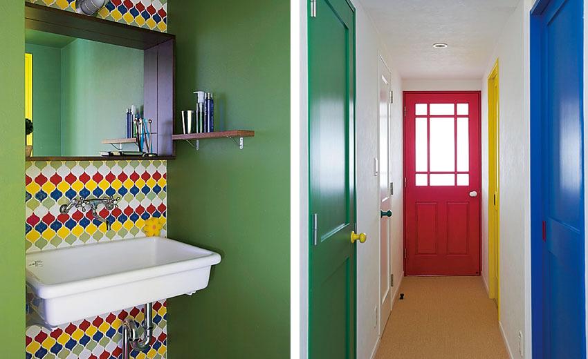 5色使った洗面台・カラードア