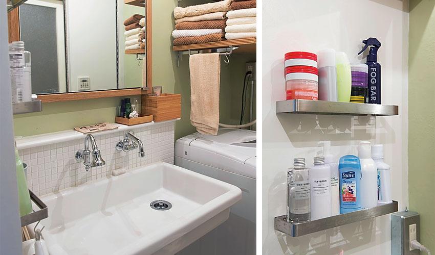 実験用シンクや特注でオーダーした三面鏡を組み合わせたシンプルな洗面台