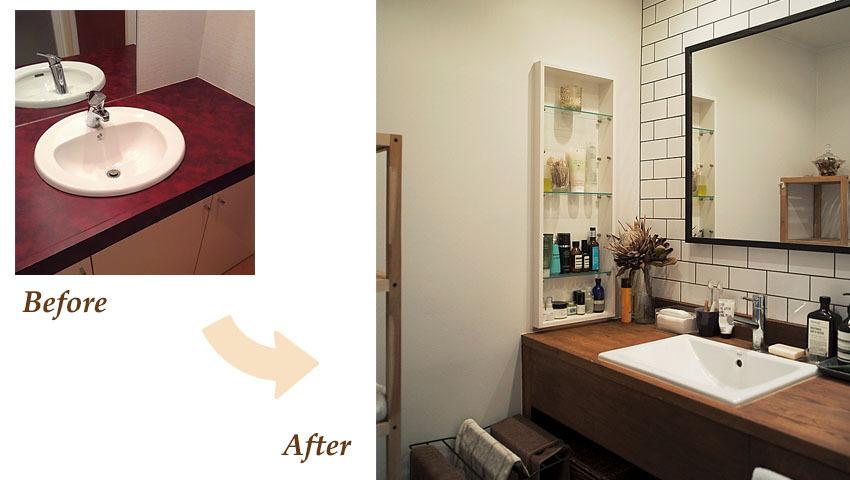 洗面台にはイケアの鏡を設置。イタリア製のレクタングルタイルと相性がいいです