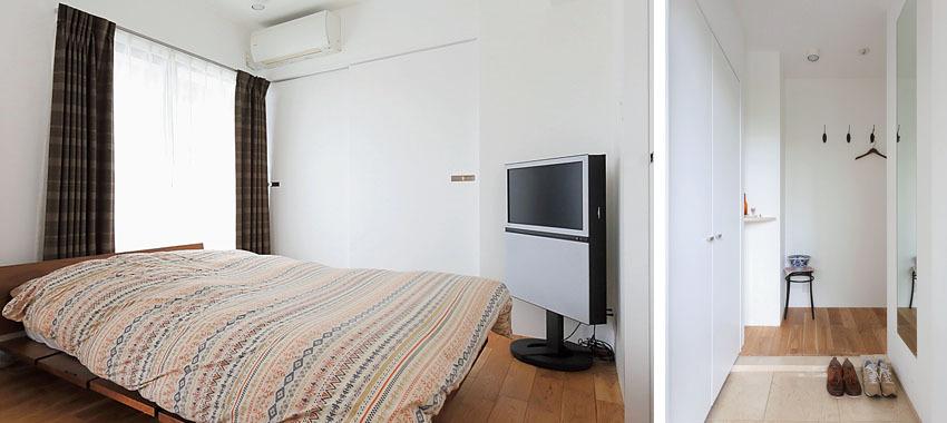 白壁が明るい印象の寝室と玄関