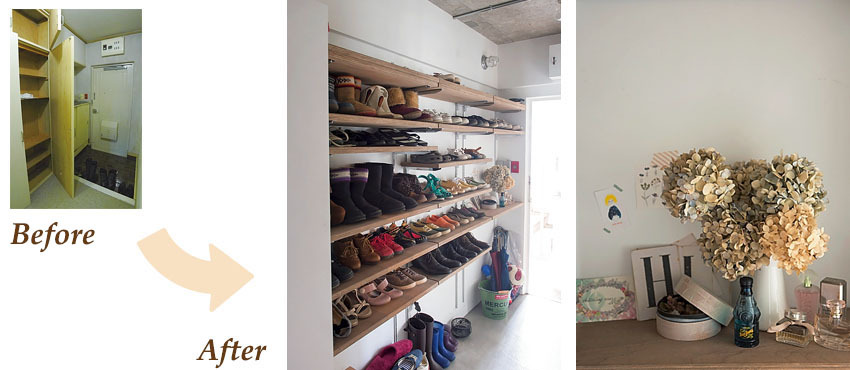 可動式のオープン棚の設置でたっぷりの靴を収納できる玄関