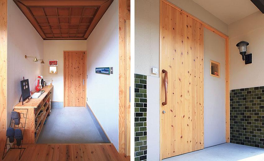 スギ材を使ったオリジナルの玄関扉